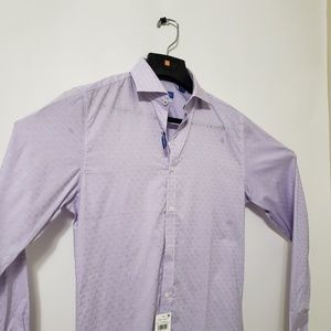Vince Camuto Mens Lavender Button Up Long Sleeve